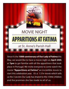 Movie Night - Apparitions at Fatima